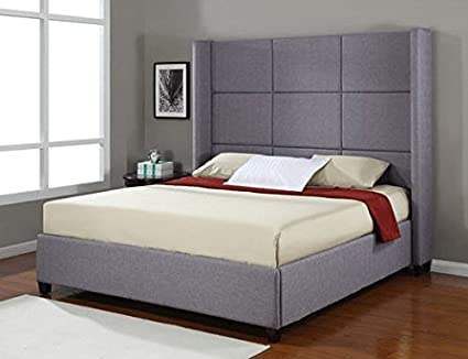 Amazoncom Jillian Grey Upholstered King Size Platform Bed Frame