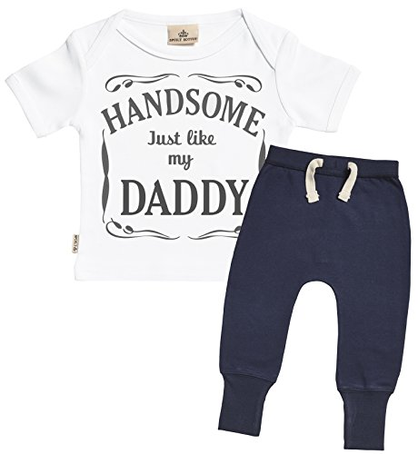SR - Handsome Just Like My Daddy Design Baby Outfit - Baby Gift Set - White Baby T-Shirt & Navy Baby Joggers - Baby Clothing Outfit - 12-18 Months