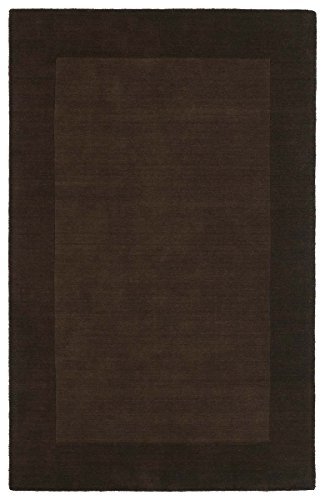 Super Area Rugs Handmade Rug, Brown Solid Wool Border Rug Transitional Modern Living Room Dining Room Carpet, 10×13 [9′ 6″ X 13′] For Sale