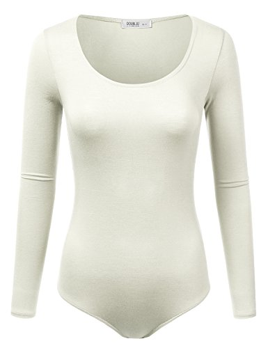 Doublju Stretchy Scoopneck Soft Knit Bodysuit with Plus Size Ivory 3XL