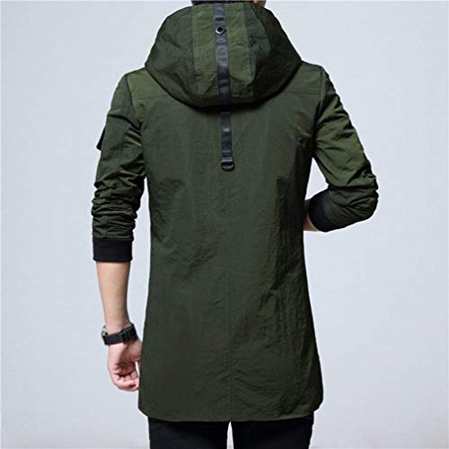 Fit Apparel and Autumn Overcoat Grün Youth Tops Men's Hooded Coat Long Trench Outwear Jacket Hooded Slim Casual Coat 81AnX4n0