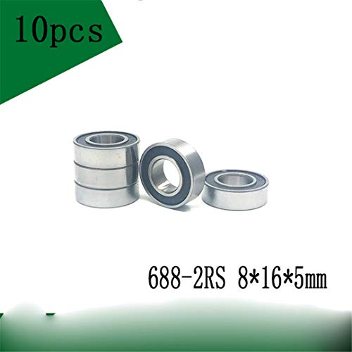 10Pcs 688-2RS 8165 Mm ABEC-1 688 Rs 688Rs The Rubber Sealing Cove Thin Wall Deep Groove Ball Bearings 688RS ()