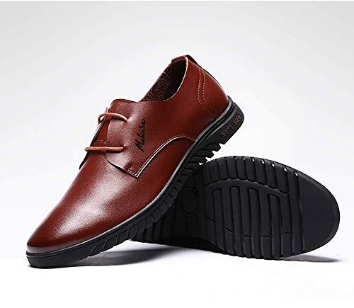 5 US 5 5 Marrón 5 de hombres hombre ocasionales cordones de negocios Zapatos Talla cómodos para US vestido 6 para tamaño 9 Color Zapatos cuero redondo Marrón 5 UK 8 con UK Color NEGRO de wRcACB