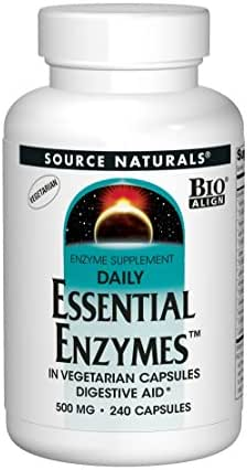 Source Naturals Essential Enzymes 500mg Bio-Aligned Multiple Enzyme Supplement Herbal Defense for Daily Digestive Health - Supports A Strong Immune System - 240 Veg Capsules