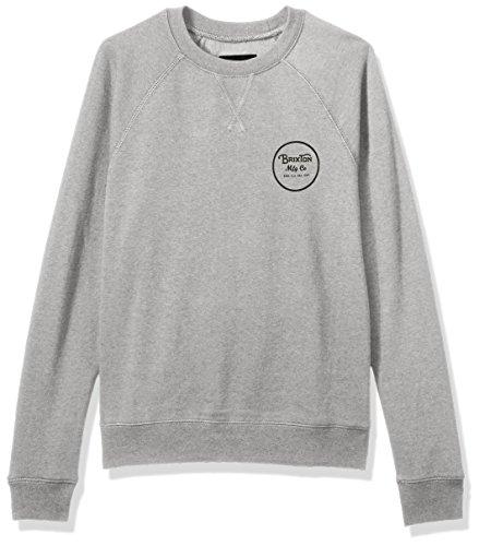 Brixton Men's Wheeler Standard Fit Crew Fleece Sweatshirt, Heather Grey, (Fleece Screen Print Sweatshirt)