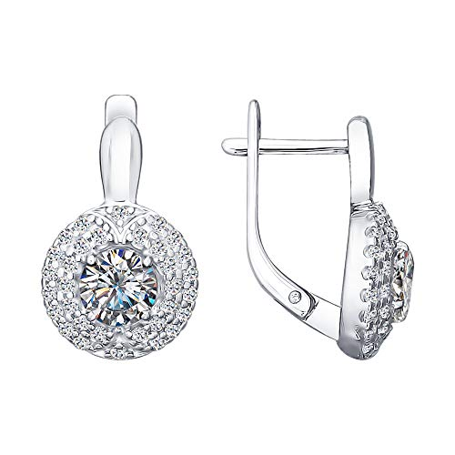 Paradis Love Sokolov Sterling Silver .925 Round Halo Earrings w/Cubic Zirconia Crystals (Halo-Center-Stone)