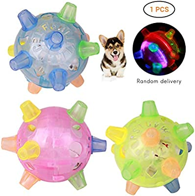 FuYouTa Dog Toy Ball Pet LED Jumping Ball LED Disco Jumping Dancing Ball Flashing Light Up Music Bounce Bouncing Ball Toy for Cat Dog