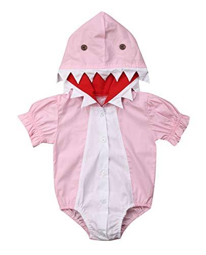 Unisex Baby Autumn Winter Shark Hooded Sweatshirt Infant Boys Girls Hoodies with Kangaroo Muff Pockets& Shark Fin (Pink, 12-18 Months) Boy Pink Infant Sweatshirt