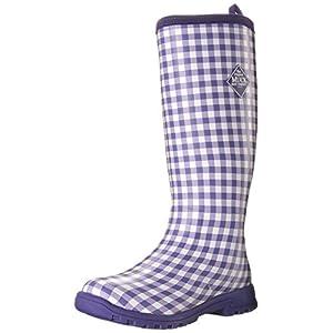 MuckBoots Women's Breezy Tall Insulated Rain Boot, Purple Gingham, 10 M US