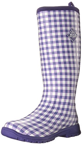 MuckBoots Women's Breezy Tall Insulated Rain Boot, Purple Gingham, 7 M US (Rain Boots Insulated)
