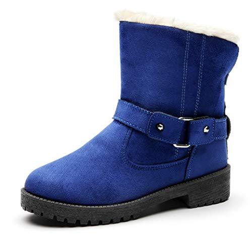 Mujer Altas Martens Corto Botas Y Nieve Warm Tobillo Shoes Azul Para Trend El De Cotton Cinturón Hebilla Tubo Combate Moda Invierno Liangxie Europa 0Yq5Tdwx6Y