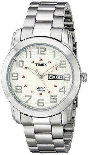 Timex Men's T2N437 Highland Street Silver-Tone Stainless Steel Bracelet (Metal Band Mens Calendar Watch)