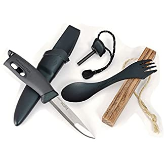 Light My Fire Black Pearl Firestarter CampKit, Includes Swedish FireKnife and FireSteel, Original Spork, and Tinder-on-a-Rope