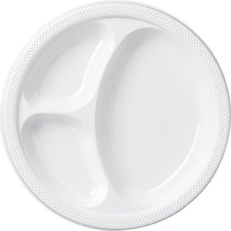 White Divided Dinner Plates 20ct