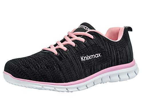 Leggere Donna Impermeabili Corsa Fitness Running Sneakers E Sportive Interior rosa Basse Scarpe Knixmax Casual All'aperto Nero EqPwUX