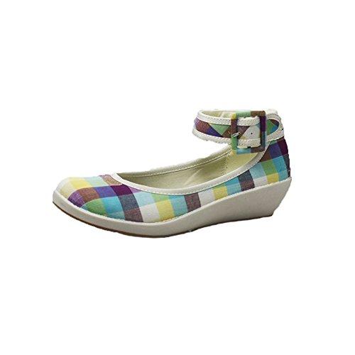 señoras zapatos de cuña baja de lona con correa de tobillo Azul