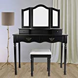 BOCCA Vanity Set Dressing Table,4 Drawers Tri-Folding Necklace Hooked Mirror Makeup with Cushioned Stool, Removable Mirror Organizer (Black)