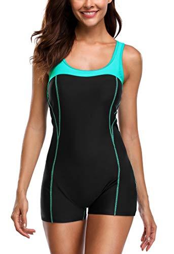 (Anwell Women's Athletic Training One Piece Swimsuit Boyleg Swimwear Bathing Suit)