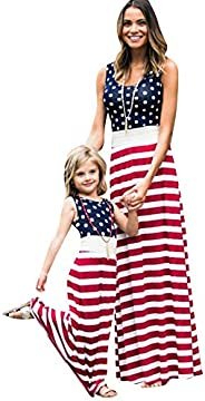 EFOFEI Mommy and Me Matching Tank Maxi Dresses Sleeveless Bohemia Floral Printed Family Matching Outfits with