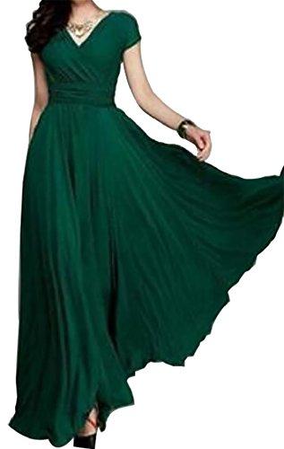 Sexy Blackish Maxi Sleeve V Flowy Green Long Summer Dresses Short Womens Neck Jaycargogo Bohemian Dress OTBn5x