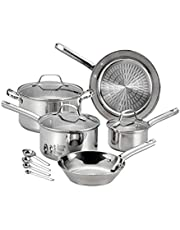 T-fal E760SC 12 Piece Performa Stainless Steel Cookware Set, Silver