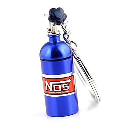Llavero con forma de minibotella de óxido nitroso con cadena Creative Auto Parts, de RUIIO, azul, 6x1.5cm