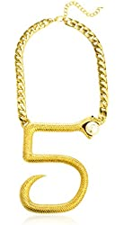 Goldtone Number 5 Shape Snake Pendant with a 17 Inch Adjustable Cuban Chain Necklace