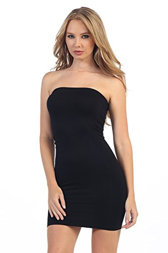 Kurve Strapless Stretchy Comfort Mini Sexy Tube Dress, UV Protective Fabric, Rated UPF 50+ (Made with Love in The USA) Black