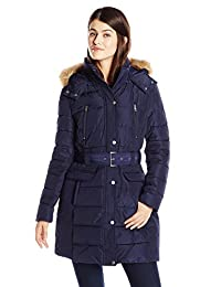 Tommy Hilfiger Women's Down Coat with Faux Fur Trim Hood and Striped Belt