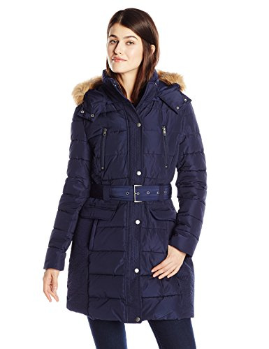 tommy-hilfiger-womens-down-alternative-coat-with-faux-fur-trim-hood-and-striped-belt-navy-small