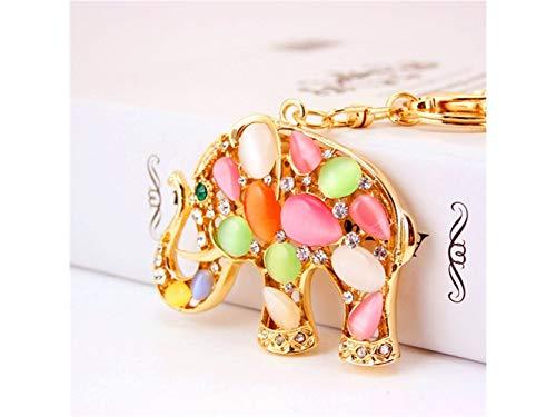 Yunqir Lightweight Creative Opal Elephant Pendant Key Chain Bag Purse Decoration Keyring(Colorful) by Yunqir