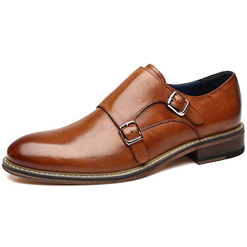 La Milano Mens Leather Double Monk Strap Oxford Slip-on Loafer Comfortable Formal Business Dress Shoes for Men -