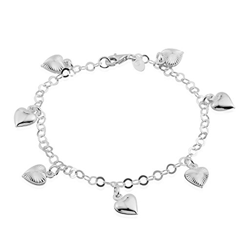 Heart Charm Bracelet Jewelry - Beach Anklet Heart Charm Bracelet for Women 925 Sterling Silver Jewelry Gift Size 7.5