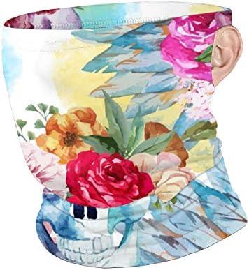 フェイスカバー Uvカット ネックガード 冷感 夏用 日焼け防止 飛沫防止 耳かけタイプ レディース メンズ Beautiful Flower Skull