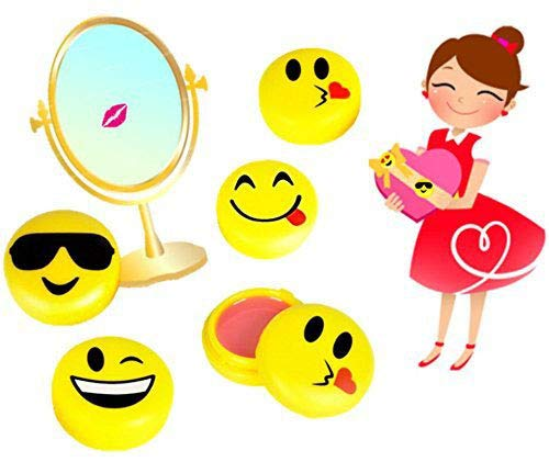 Play Kreative Emoji Lip Gloss for Kids - 12 Emoticon Girls Lip Balm - Great Birthday Party Favors
