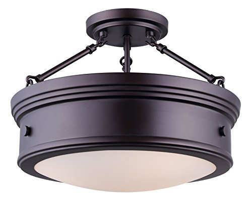 Canarm LTD ISF624A03ORB Boku ORB 3 Bulb Semi-Flush Mount Oil Rubbed Bronze with Flat Opal - Fixture Bronze Semi Ceiling Flush
