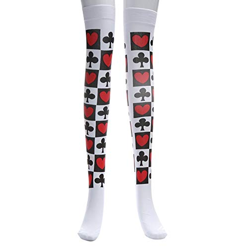 Challyhope Loving Stockings Long Tube Knee Socks Halloween Fancy Dress Party Funny Dress Up Cosply Costume (White, Free) -