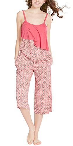 Summer Pajamas for Women, Camisole Capri Pajama for Woman - Pjs Women Tank Tops Lounge Capris Sets Sunbrella - Tank Lounge Sets
