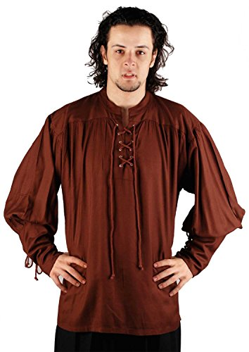 [Medieval Poet's Pirate John Coxon Shirt Costume [Chocolate] (Small/Medium)] (Medieval Shirt Adult Costumes)