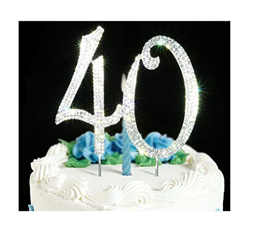 40 Cake Topper | Premium Bling Crystal Rhinestone Diamond Gems | 40th Birthday or Anniversary Party Decoration Ideas | Quality Metal Alloy | Perfect Keepsake ...