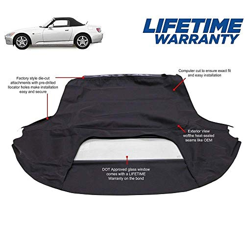 Fits: Honda S2000 Convertible Top (2000-01) Black Haartz Twillweave Original Material with Glass Window