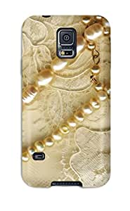 Galaxy S5 Hard Back With Bumper Silicone Gel Case Cover Beautiful Embroidery Sewn With Gold Thread And Gems
