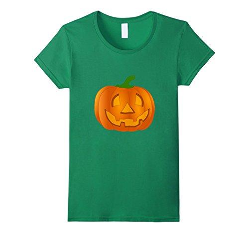 Womens Jack O' Lantern Pumpkin Face Halloween Costume T-Shirt XL Kelly Green -