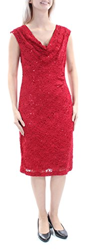- Connected Apparel Women's Sequined Lace Sheath Dress Red 6