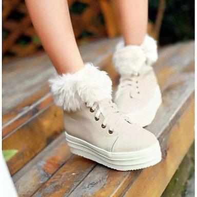 Normal GLL Flach beige Weiß Rosa Damen Beige PU Stiefel Winter amp;xuezi Komfort YqYrT6Av