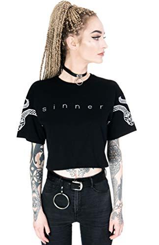 Restyle Sinner Snakes Nugoth Gothic Punk Crop Top - Black (2XL)