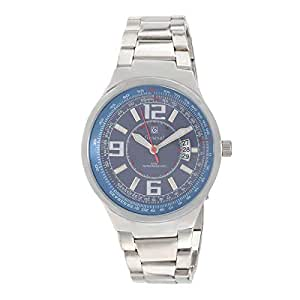 Geneval Men's Blue Dial Stainless Steel Band Watch - GM121WE