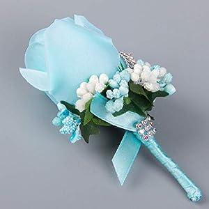 TeemorShop 1Pc Wedding Artificial Rose Flower Brooch Bouquet Corsage with Glitter Rhinestone Ribbon Boutonniere 33