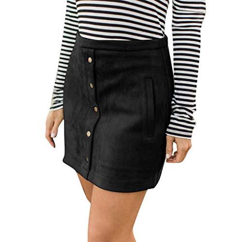 Stretch Bodycon Knee Skirts Womens Elastic Pocket Button Solid Evening Party Skirt Wrap Dress Beautyfine Black