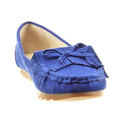 Sopily - Zapatillas de Moda Bailarinas Tobillo mujer fleco nodo Talón Tacón ancho 1 CM - Azul
